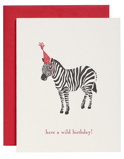 Zebra Birthday Get Wild Limited Edition Card Strangekiss